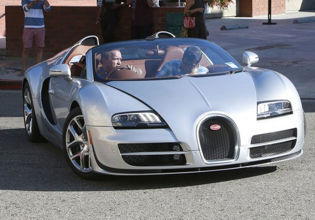 Arnold Schwarzenegger Recognized Driving 2015 Bugatti Veyron Grand Sport Vitesse